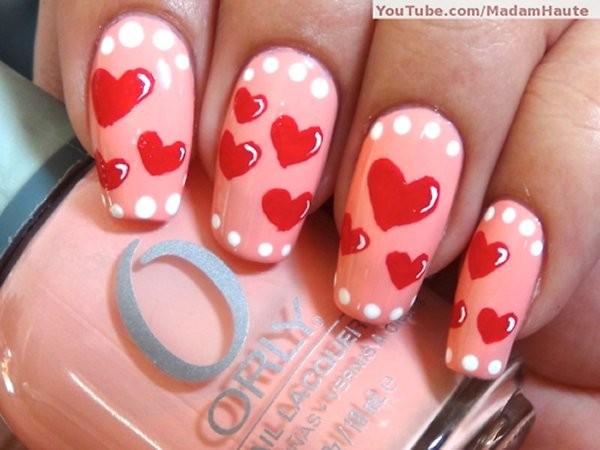 Beautiful Heart Nail Art Designs For Girls 2014 1