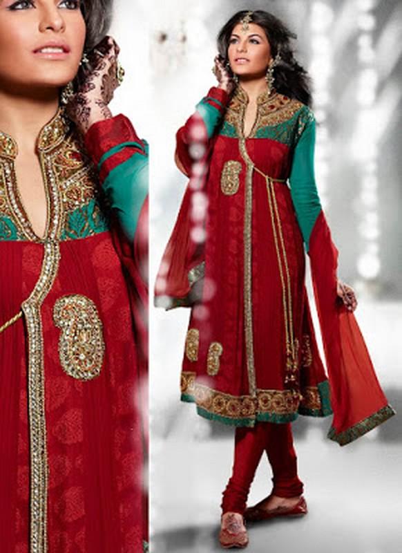 Trends Of Angrakha Anarkali Frocks 2014 For Wedding 1