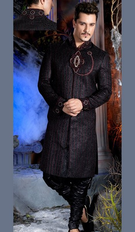 trends of black sherwani 2014 for pakistani groom