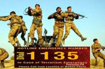 Pak Army Terrorism Emergency Helpline Pakistan 1135