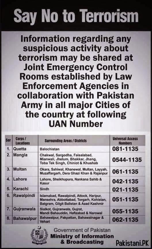 Pak Army Emergency Number 1135 Information