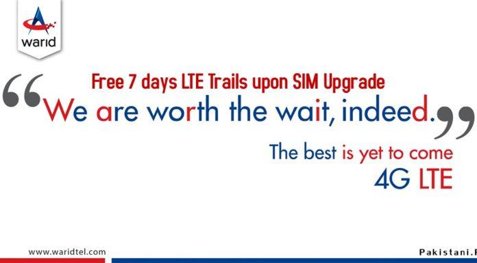 Warid 4G LTE FREE Internet Trail For 7 Days