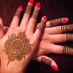 red indian flower mehndi design