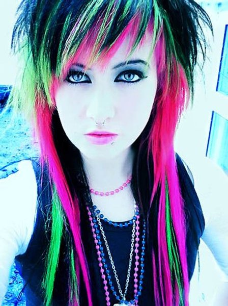 10 Beautiful Emo Hairstyles For Girls - Multi-Colored Emo Look