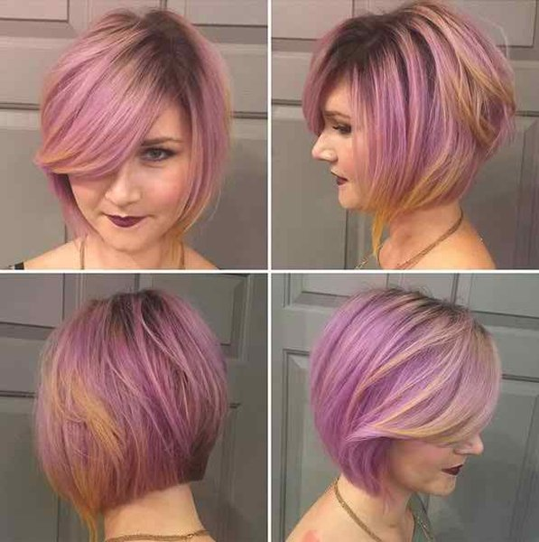 25 Simple Long Bob Hairstyles Which You Can Do Yourself-Purple Colored Bob Haircut