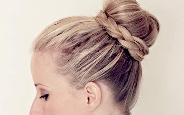 50 Simple Curly Hairstyles You Can Do In 10-Minutes-Stunning Ballerina Braid Bun