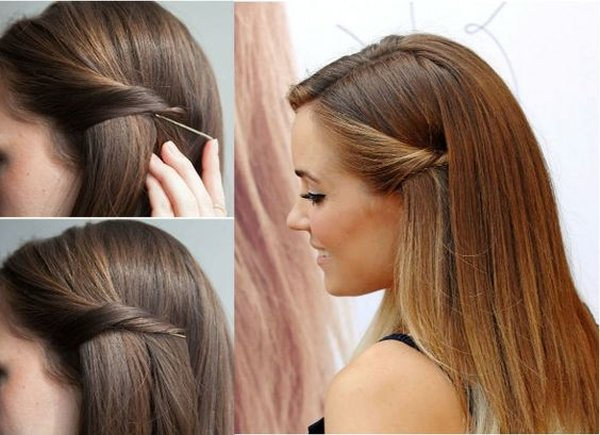 50 Simple Curly Hairstyles You Can Do In 10-Minutes-Stylish Easy Pulled-Back Look with Hair Slides