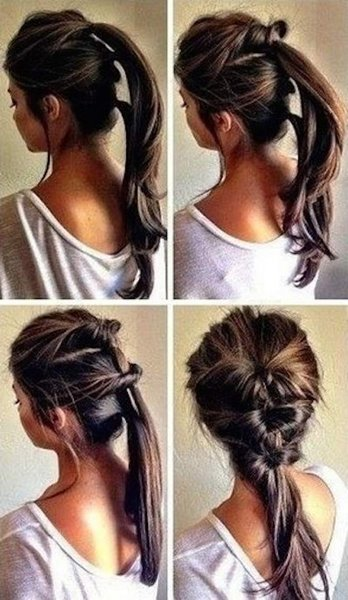 50 Simple Curly Hairstyles You Can Do In 10-Minutes-Thread Together Three Ponytails