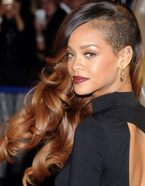 12 Best Rihanna Hairstyles She Has Had Till Now-Lovely Shaved Side With Long Curls