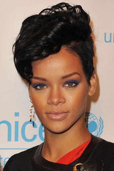 12 Best Rihanna Hairstyles She Has Had Till Now-Trendy Shaved with Faucet Curls