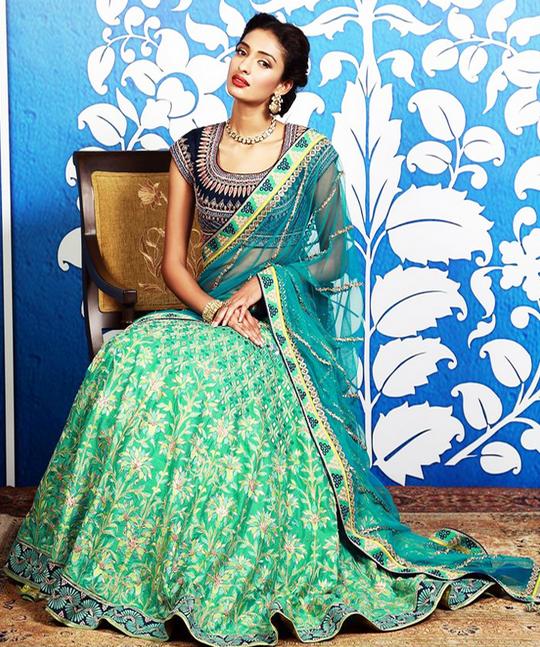 20 Indian Wedding Dresses You Can Try This Season - Bluish Green Lehanga Choli