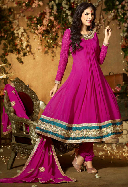 20 Indian Wedding Dresses You Can Try This Season - Magenta Anarkali Frock