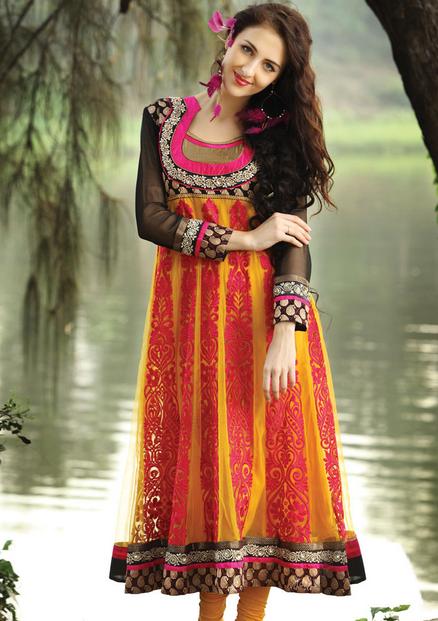 20 Indian Wedding Dresses You Can Try This Season - Orange Frock Choridar