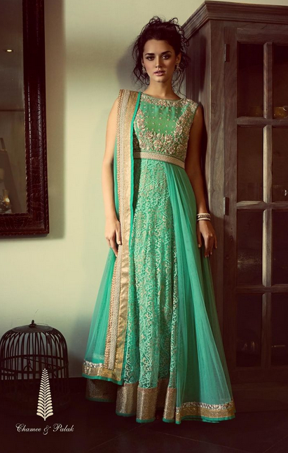 20 Indian Wedding Dresses You Can Try This Season - Sea Green Maxi