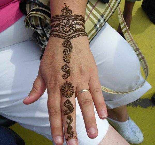 20 Simple Mehndi Designs For Hands-Elegant Floral Wristband Mehndi Design
