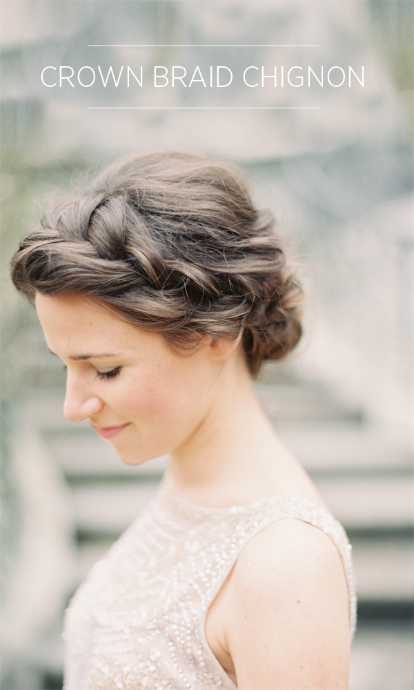 12 Summer Bridal HairStyles For Women-Stylish Crown Braid Chignon Hairstyle