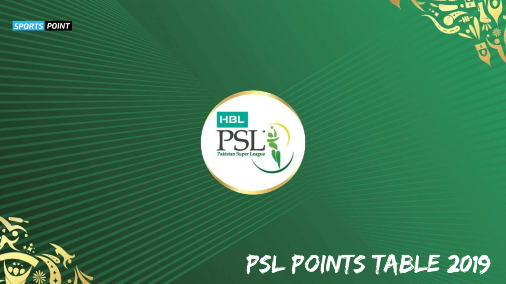 PSL Points Table 2019